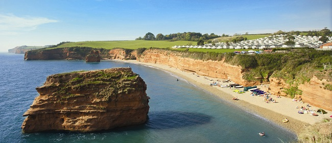 Campsites in Devon near beach Ladram Bay