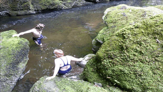 Wild swimming Devon Long Pool at Watersmeet