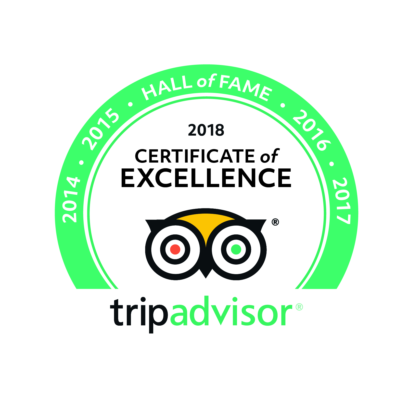 TripAdvisor Certification of Excellence – Hall of Fame – 2018