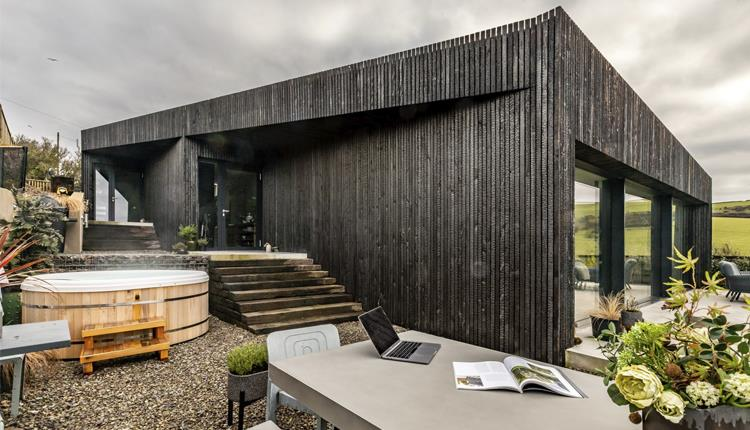 Black wooden lodge