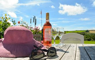 sunny skies, sun glasses, hat, wine